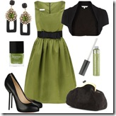 Polyvore Green Dress