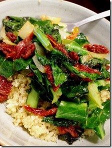 Greens tomatoes and quinoa