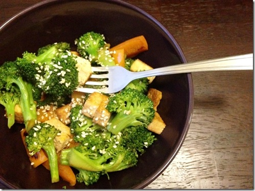 broccoli and orange pepper stirfry