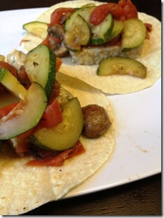sauteed zucchini and tomato tacos
