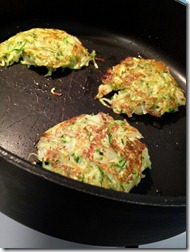 Zucchini fritters cooking