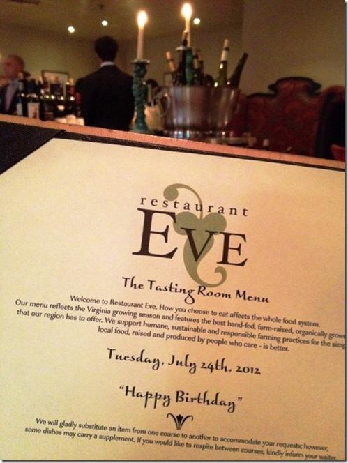 Restaurant Eve menu