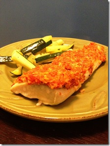 almond and roasted red pepper mahi mahi