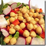 Chickpea radish spinach salad