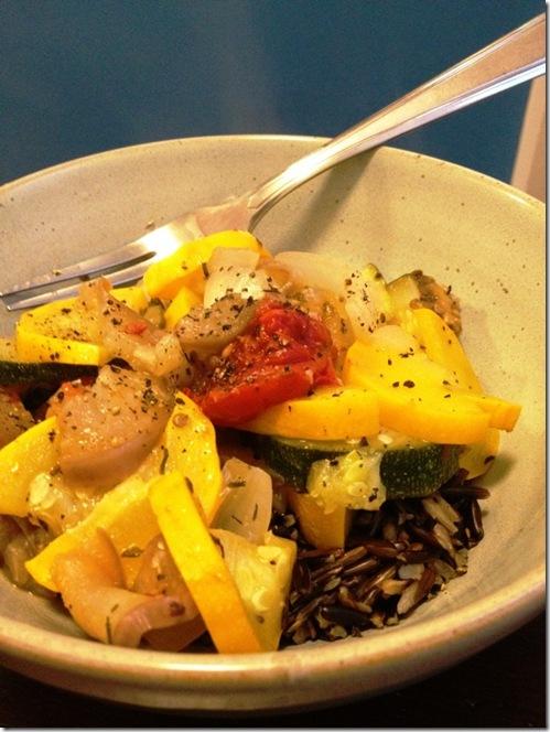 ratatouille over wild rice