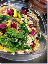 beet asparagus and spinach quinoa salad